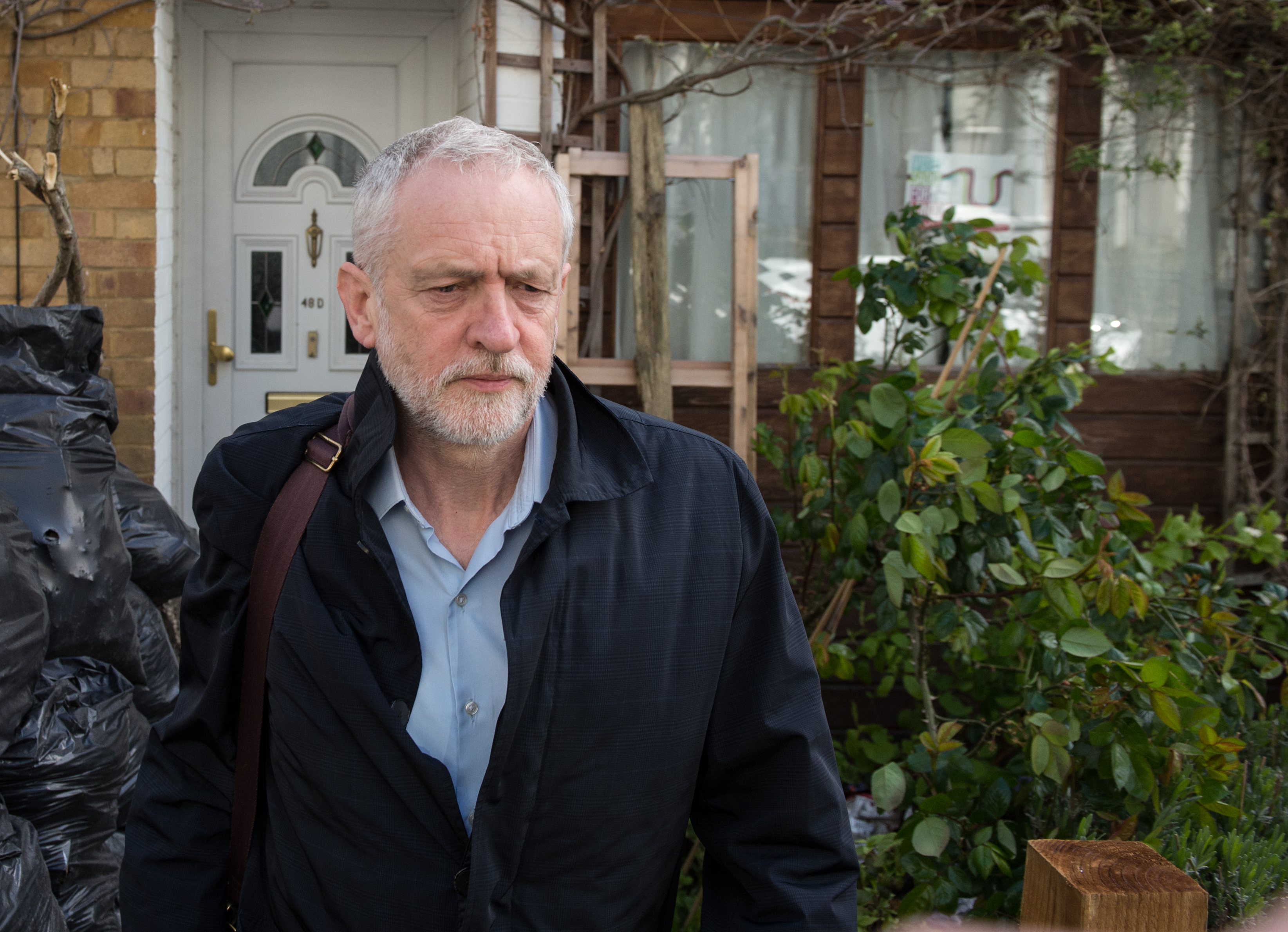 LONDON, ENGLAND - APRIL 29: Labour party leader Jeremy Corbyn leaves his home in the morning on April 29, 2016 in London, England. Mr Corbyn has denied that his party is in crisis after Ken Livingstone was suspended from the party for comments made defending an MP accused of anti-Semitism.