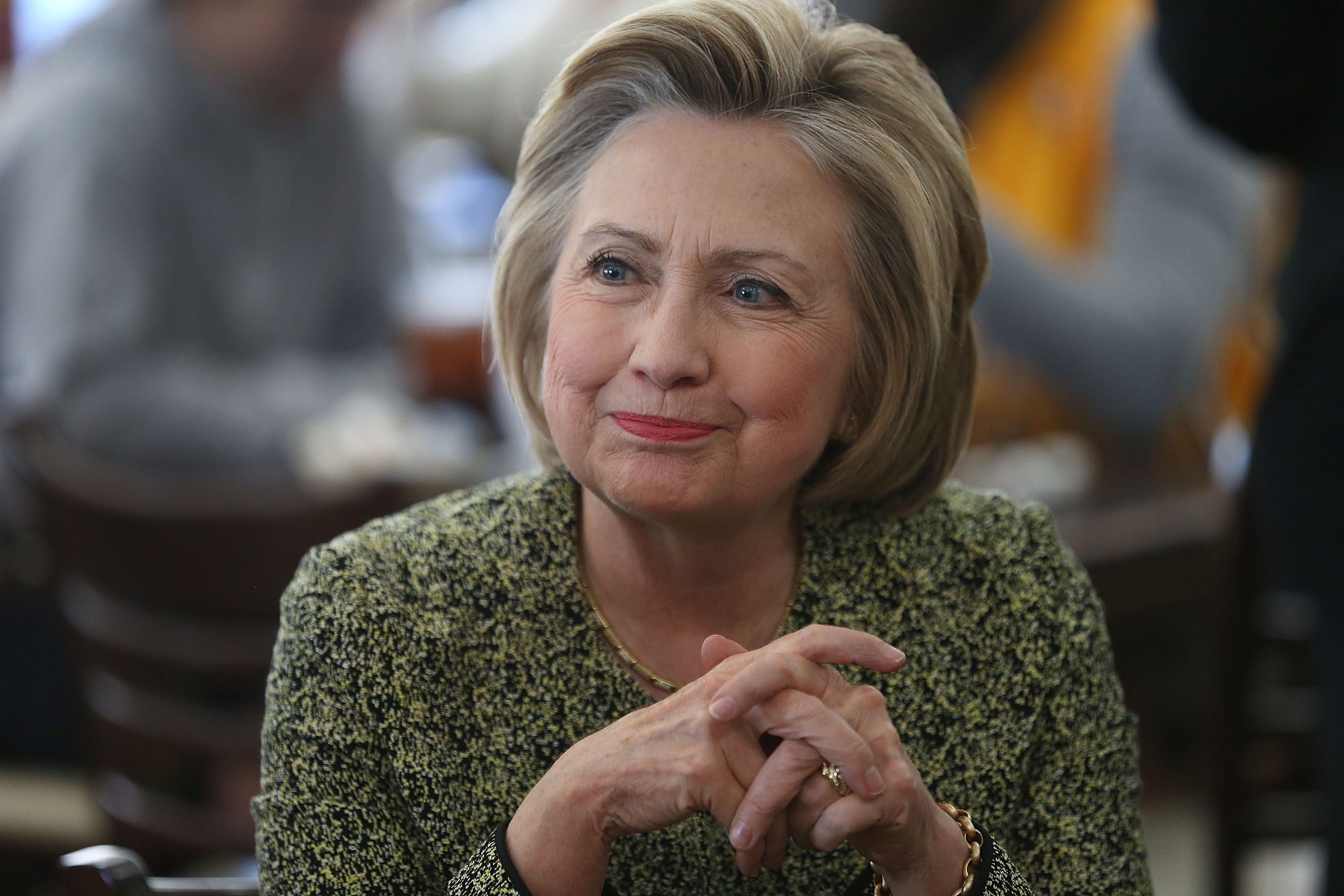 INDIANAPOLIS, IN - MAY 01: Democratic presidential candidate Hillary Clinton makes a stop at the Lincoln Square pancake house as she campaigns for votes on May 1, 2016 in Indianapolis, Indiana. Presidential candidates continue to campaign across the state leading up to Indiana's primary day on May 3.