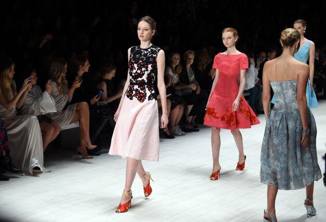 Models storm the runway at the Oscar de la Renta, the show that ended Australian Fashion Week