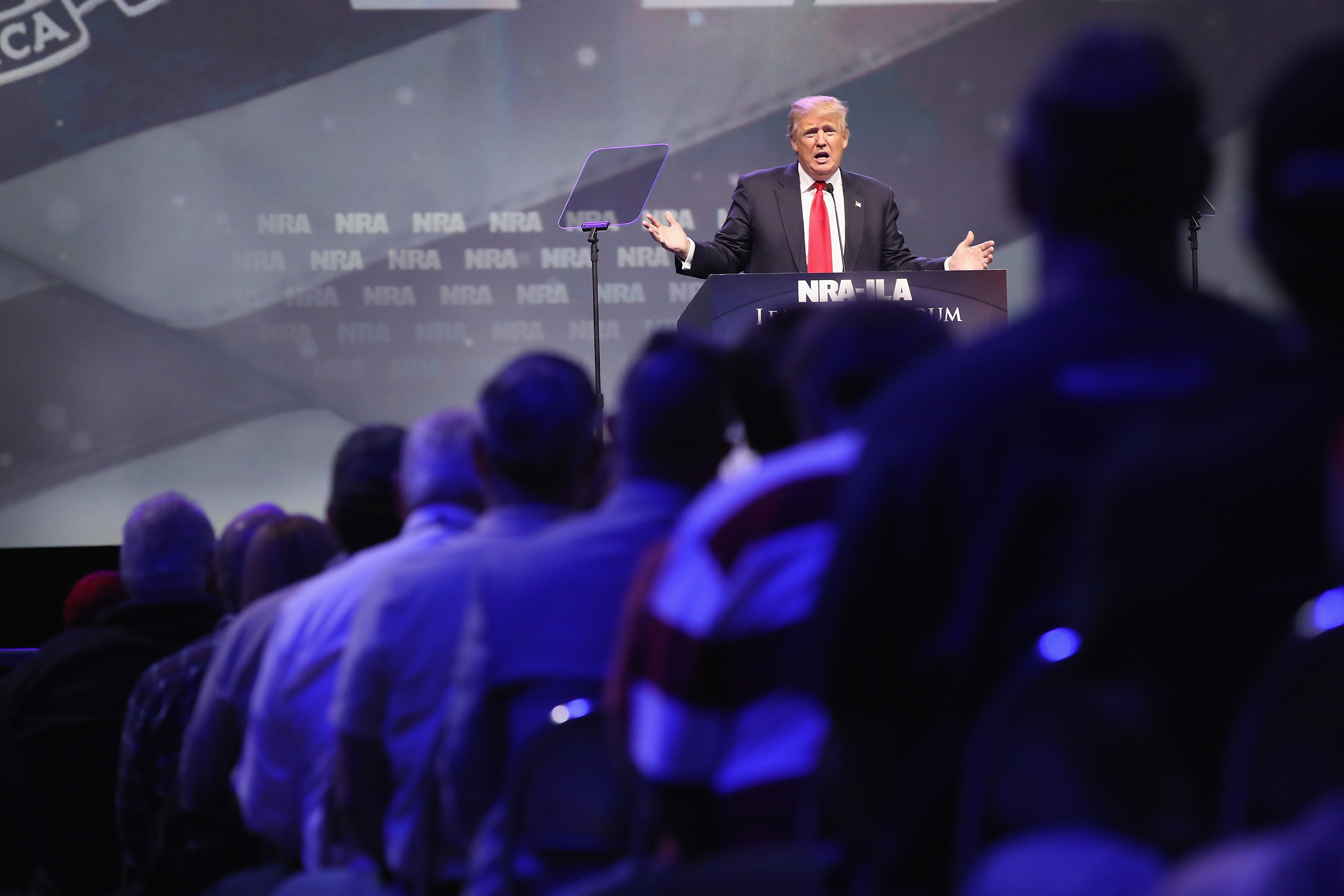 Republican presidential candidate Donald Trump speaks at the National Rifle Association's NRA-ILA Leadership Forum during the NRA Convention at the Kentucky Exposition Center on May 20, 2016 in Louisville, Kentucky. The NRA endorsed Trump at the convention. The convention runs May 22.