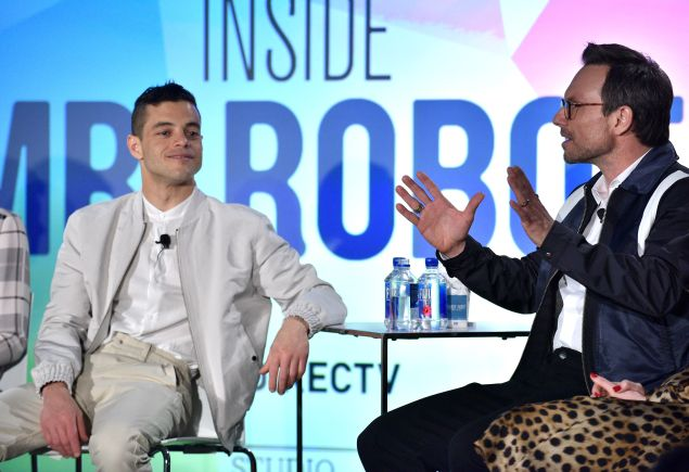 Rami Malek and Christian Slater speak at the Inside Mr. Robot panel at the Vulture Festival.