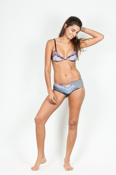 Giejo String Tie Purple Aztec, $118 and High Rise Blue Aztec, $99, Giejo.com