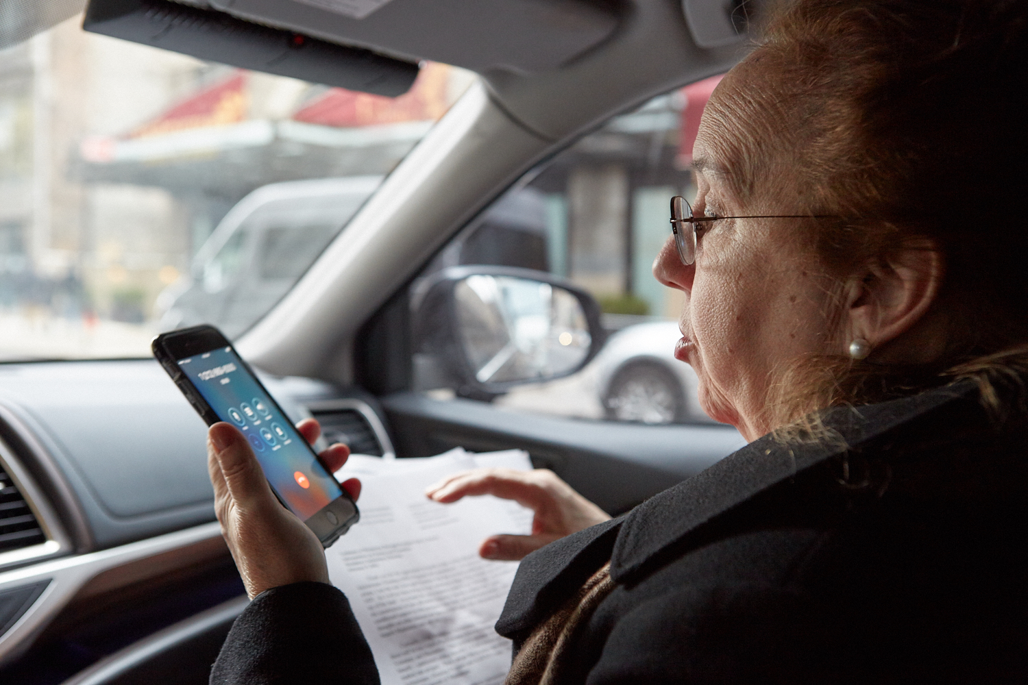 Gale Brewer in her car, on the way to Ruth Messinger's office at the American Jewish World Service in midtown.