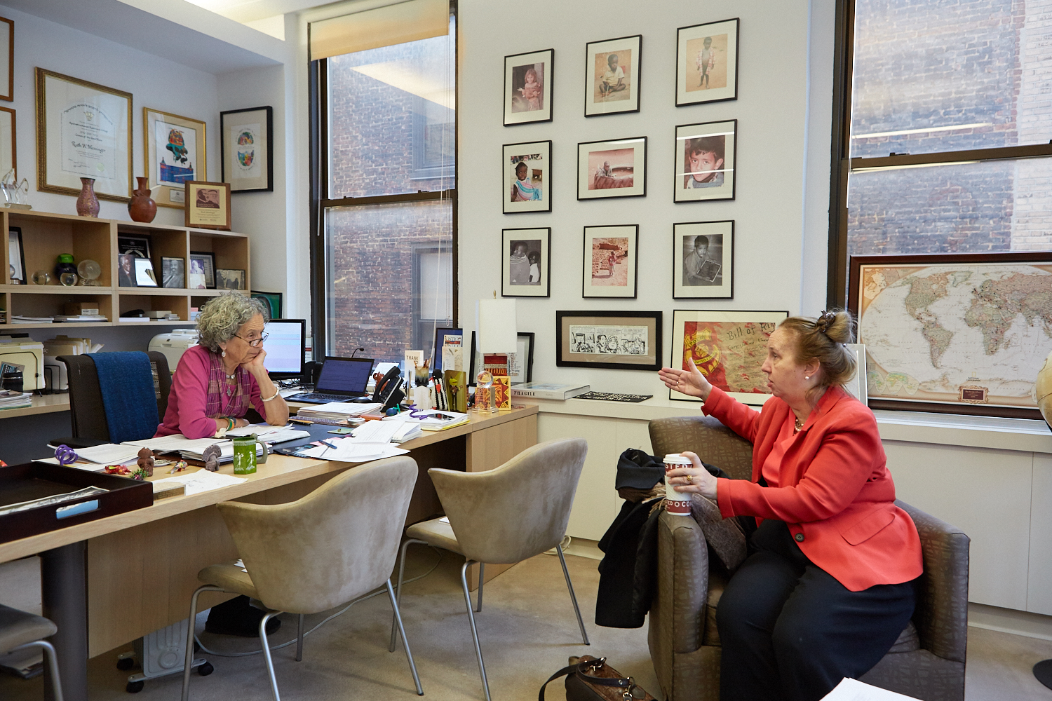 Gale Brewer with Ruth Messinger in Messinger's office at the American Jewish World Service in midtown Manhattan.