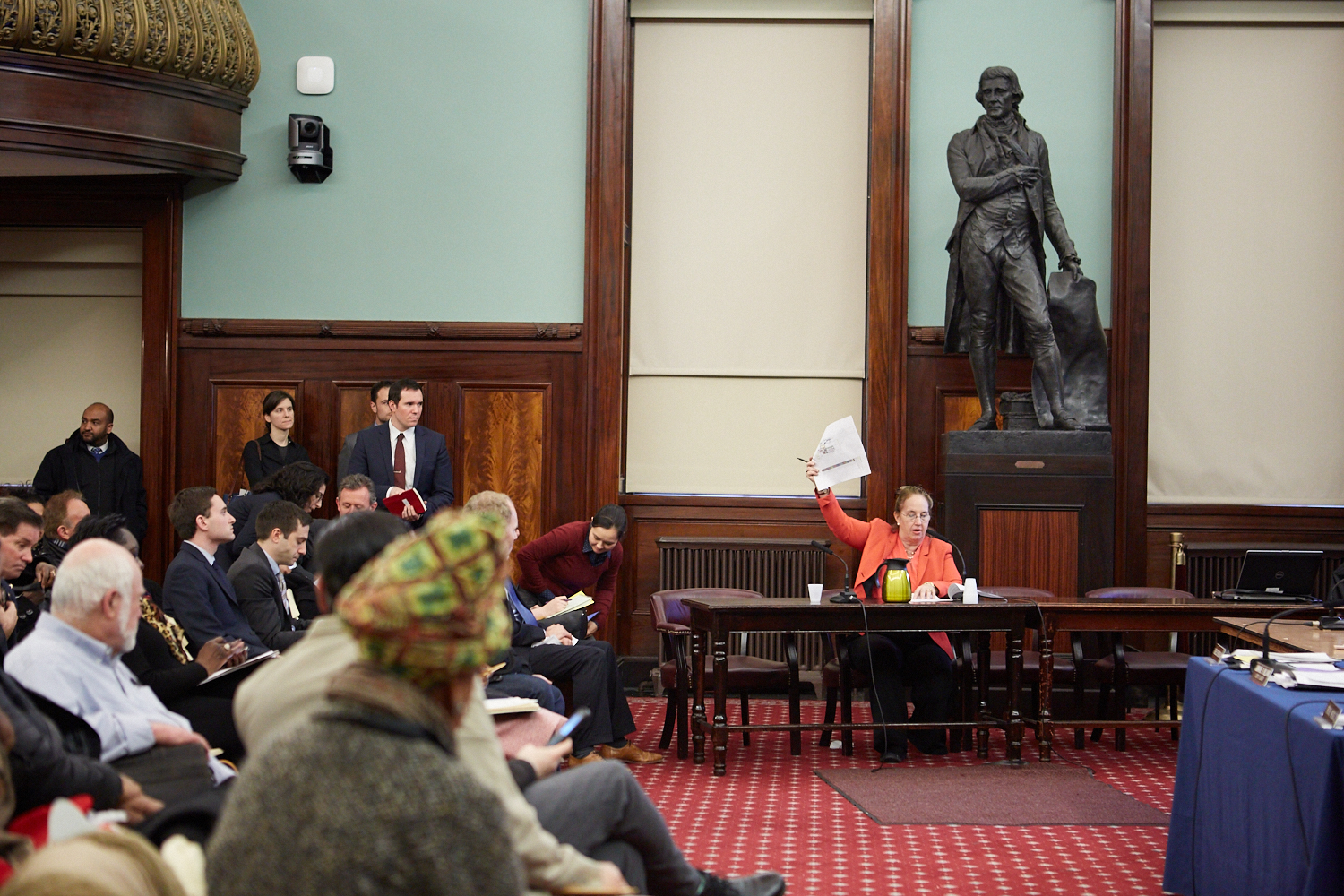 Gale Brewer addressing a hearing on housing affordablity at City Hall in Manhattan.