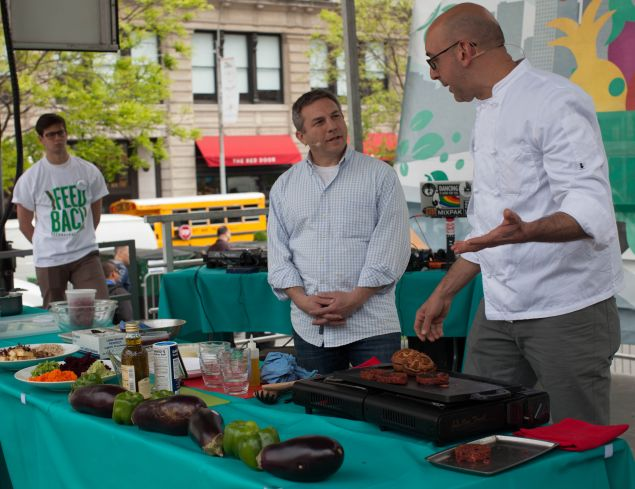 Michael Schwartz and Blue Hill Farm Chef Adam Kaye demonstrated tasty ways to use surplus produce.