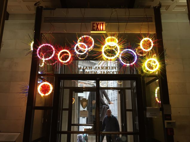 Flourescent light works by George Kroenert installed above the entrance.