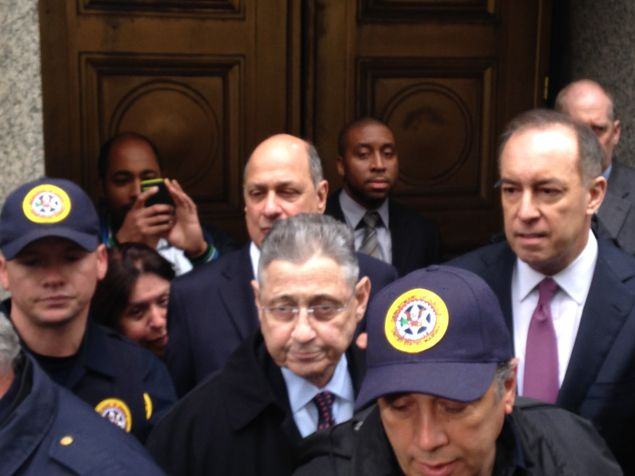 Sheldon Silver with his attorneys.