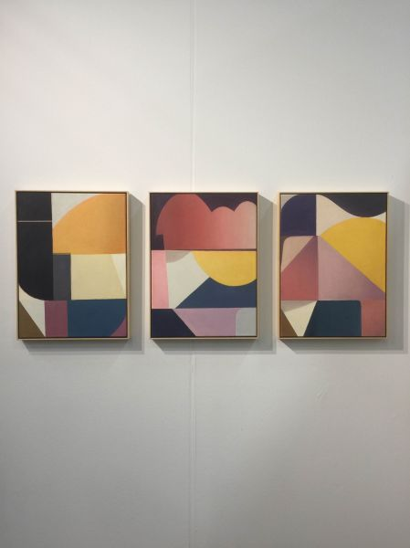 Paintings by Bernhard Buhmann in the booth of Carbon12Dubai.