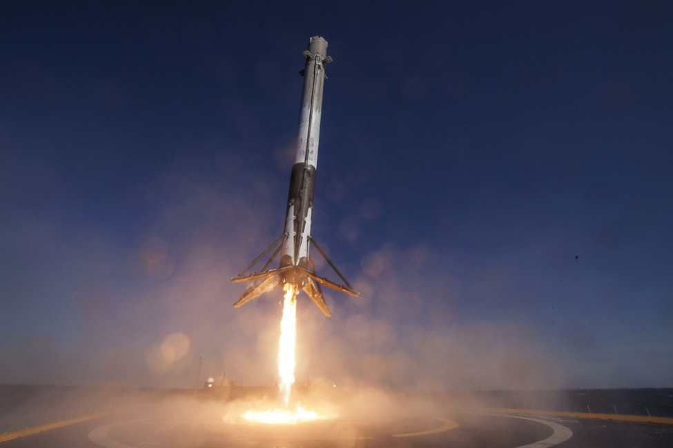 """The SpaceX Falcon 9 rocket lands on the """"Of Course I Still Love You"""" drone ship last April"""
