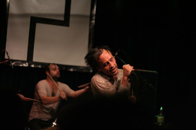 Rickie Mazzotta and Aaron Weiss (foreground) of mewithoutYou.