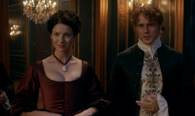 Caitriona Balfe as Claire Randall and Sam Heughan as Jamie Fraser.