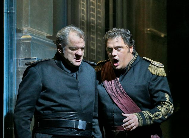 "Željko Lučić as Iago and Aleksandrs Antonenko in the title role of Verdi's ""Otello"""