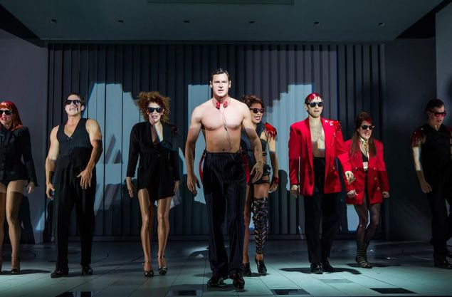 Benjamin Walker (center) and the company of 'American Psycho.'