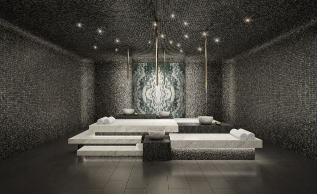 The David Rockwell-designed heated stone hammam at 111 Murray.