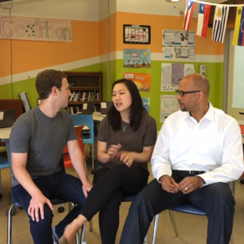 Mark Zuckerberg, Priscilla Chan and Jim Shelton this afternoon on a Facebook live video.