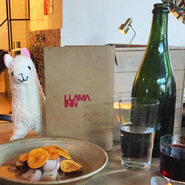 The llama visits the buzzy Williamsburg Peruvian restaurant Llama Inn.