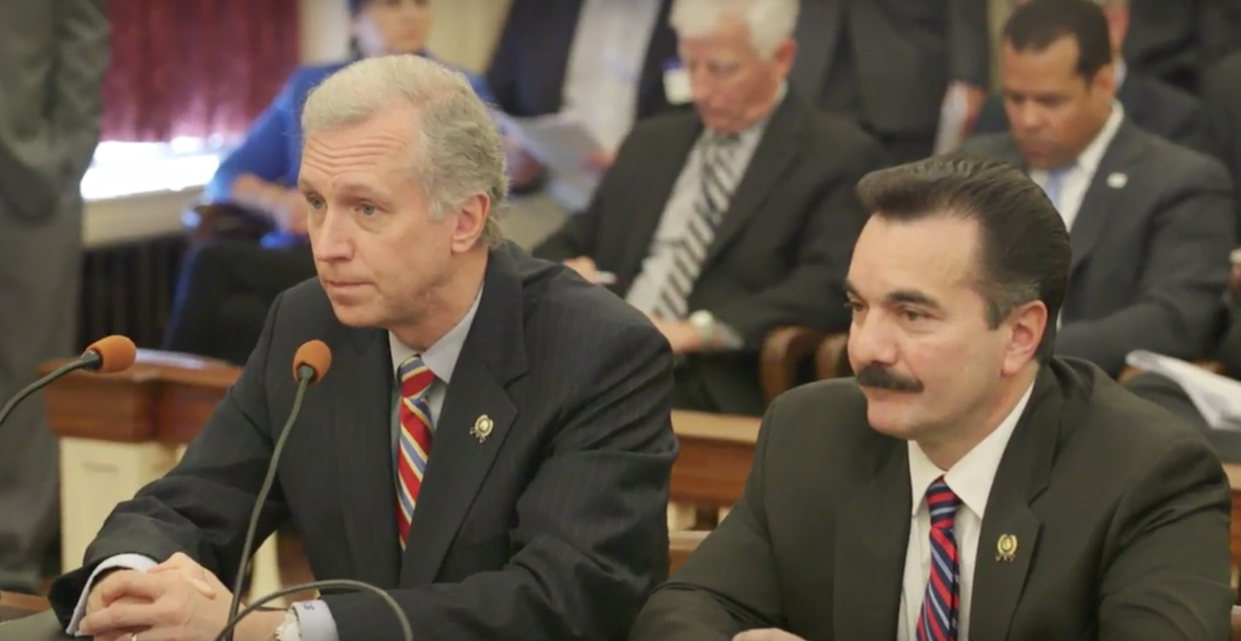Assembly Speaker Vince Prieto (right) and Assemblyman John Wisniewski (left).