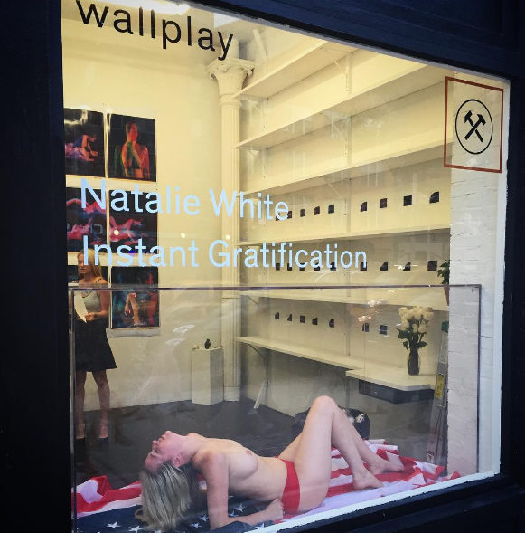 Natalie White during her installation/performance at the Hole gallery last year.