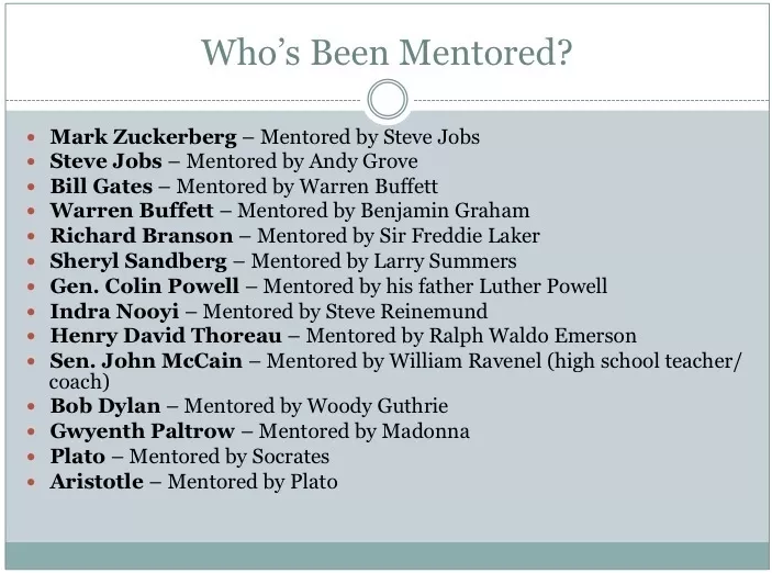 The success of these people is likely tied to their mentors.