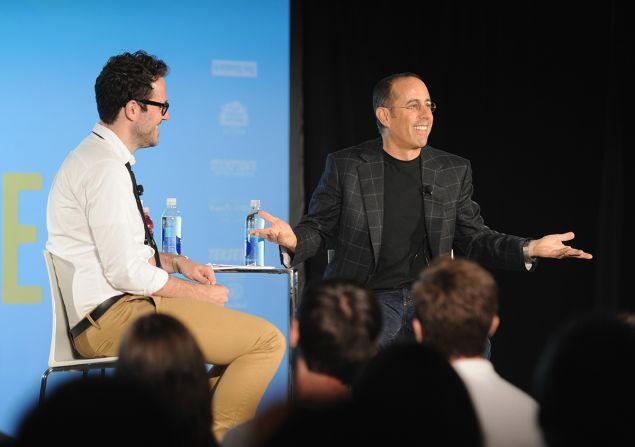Jesse David Fox and Jerry Seinfeld in conversation at last year's Vulture Festival.