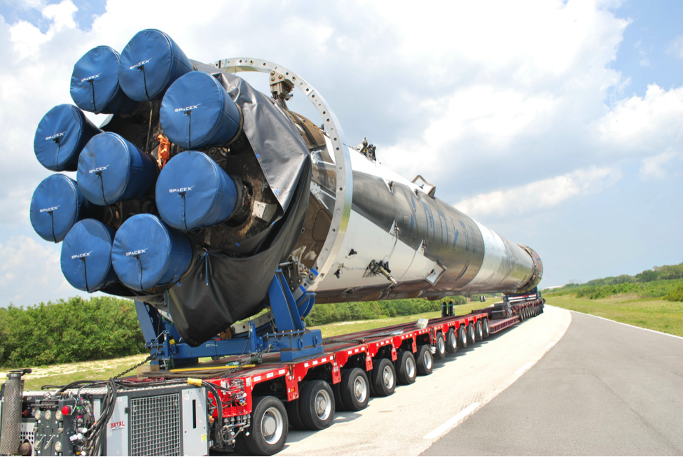 The business end of the recovered Falcon 9 rocket.