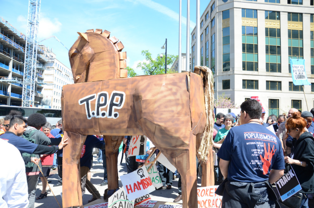 Rally against TPP in Washington.