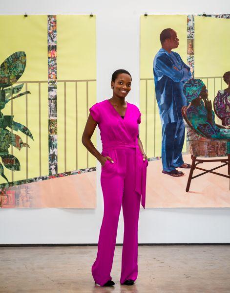 Njideka Akunyili Crosby in front of her work.