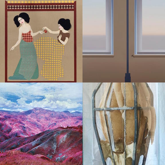 A sampling of the four artists that will be on view at The School in Kinderhook, NY.