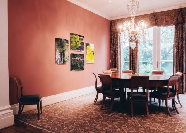 In the dining room, works by Jim Hodges and Tony Feher.