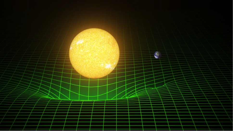 How our sun and Earth warp space and time, or spacetime, is represented here with a green grid. As Albert Einstein demonstrated in his theory of general relativity, the gravity of massive bodies warps the fabric of space and time—and those bodies move along paths determined by this geometry.