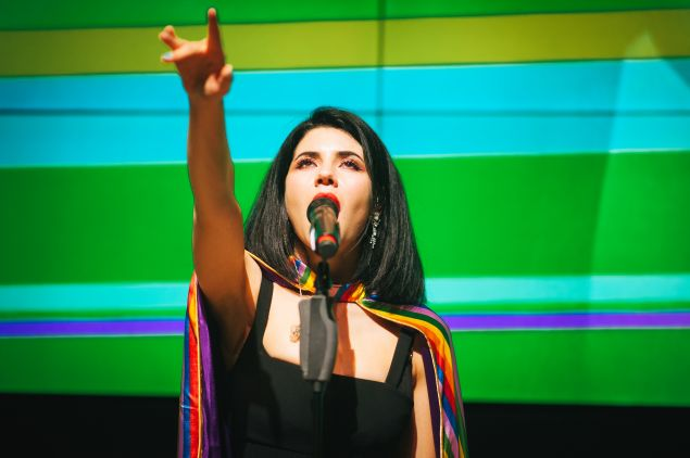 Marina and the Diamonds performing for Samsung's PRIDE series