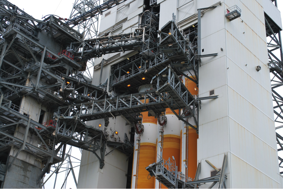 The Delta-4 Heavy rocket being prepped for launch. A secret NRO payload sits on top.