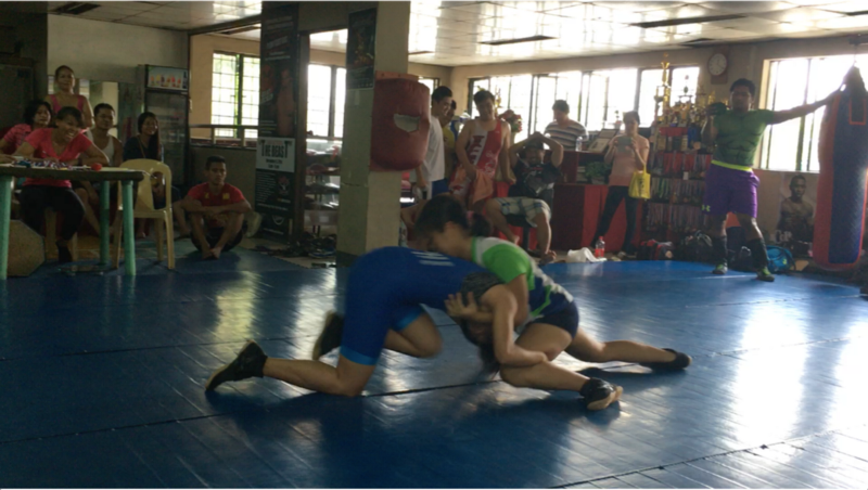 Me (in green) at the Buno at Dumog Takedown Challenge, May 2016, Manila, Philippines