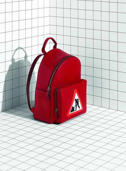 A construction sign-inspired backpack