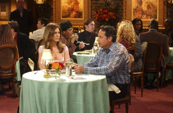 "FRIENDS -- ""The One With The Blind Dates"" -- Episode 14 -- Aired 2/6/2003 -- Pictured: (l-r) Jennifer Aniston as Rachel Green, Jon Lovitz as Steve -- Photo by: NBCU Photo Bank"