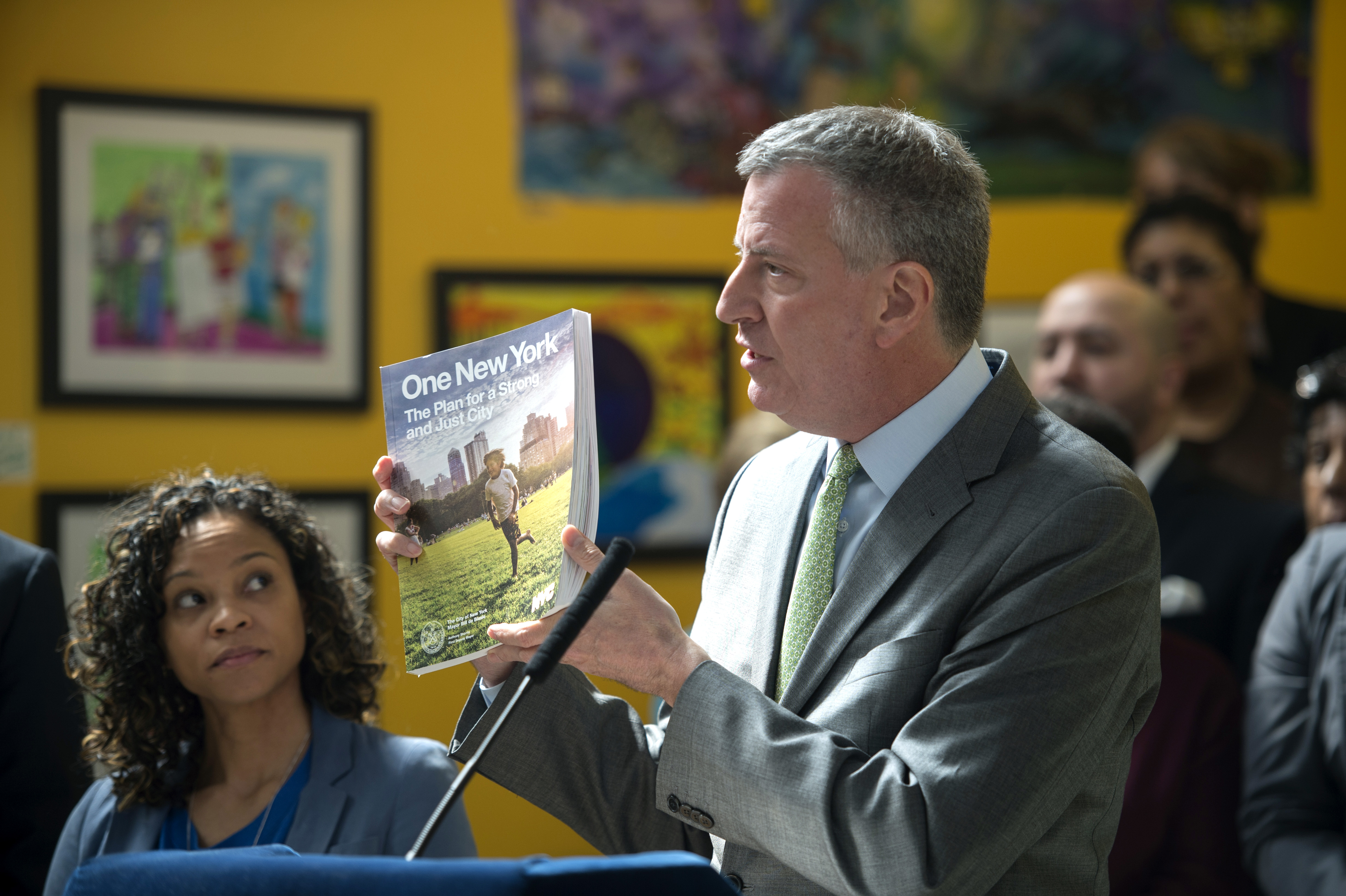 Mayor Bill de Blasio at the roll-out of his sustainability report, One New York.