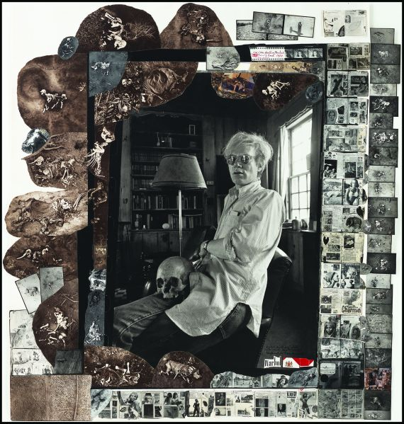 "Peter Beard, Andy Warhol and his skull at Church Estate in Montauk, ""Land's End"", 1972/2003."