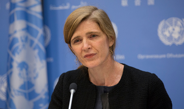 UNITED NATIONS, NEW YORK, UNITED STATES - 2015/12/01: Samantha Power, United States Permanent Representative to the UN and President of the Security Council for December, briefs journalists on the Councils program of work for the December today at the UNHQ in New York City.
