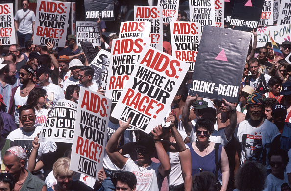 ACT-UP demonstrates for an AIDS cure at the Pride Parade in 1994.