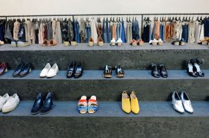 The designer puts her famous shoes on full display.