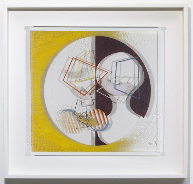 László Moholy-Nagy, Space Modulator, 1939–45. Oil and incised lines on Plexiglas, in original frame.