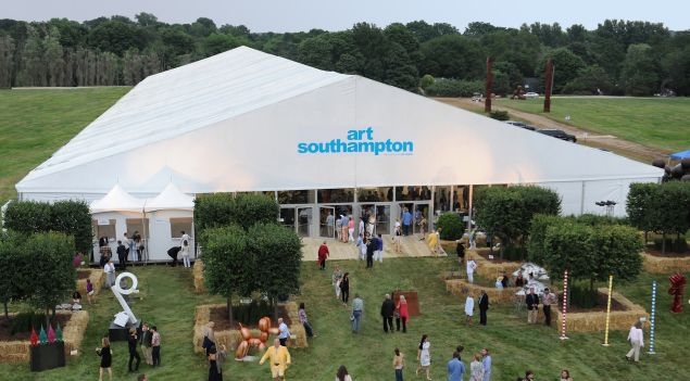 The Art Southhampton tent in Bridgehampton, New York.