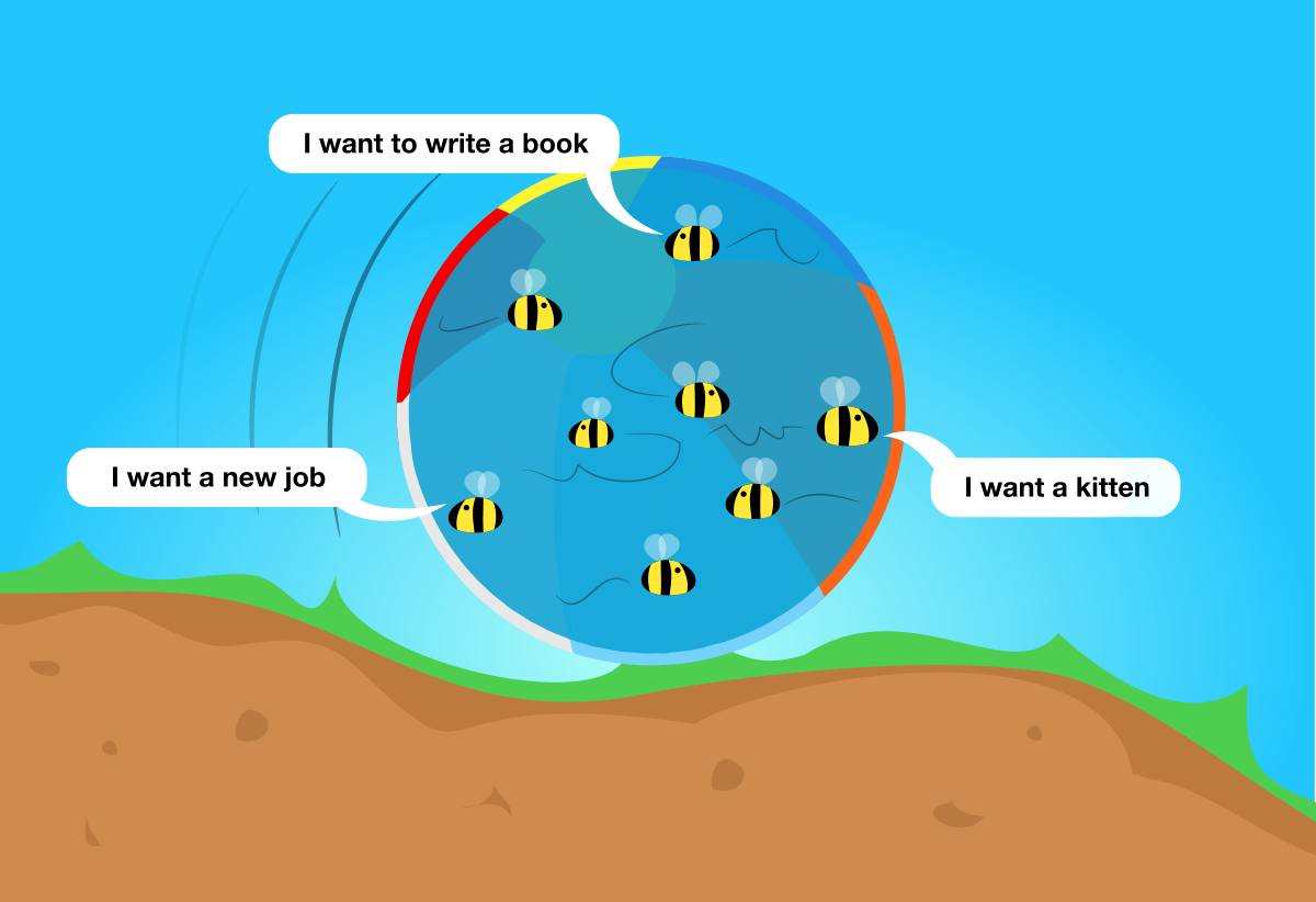 The beach ball filled with bees