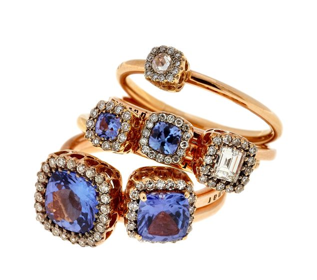 Selim Mouzannar Beirut Collection Bouquet of Rings in Tanzanite, White Sapphire & Diamonds, Price Upon Request