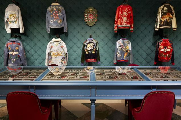 Customizable jackets at the Via Montenapoleone shop