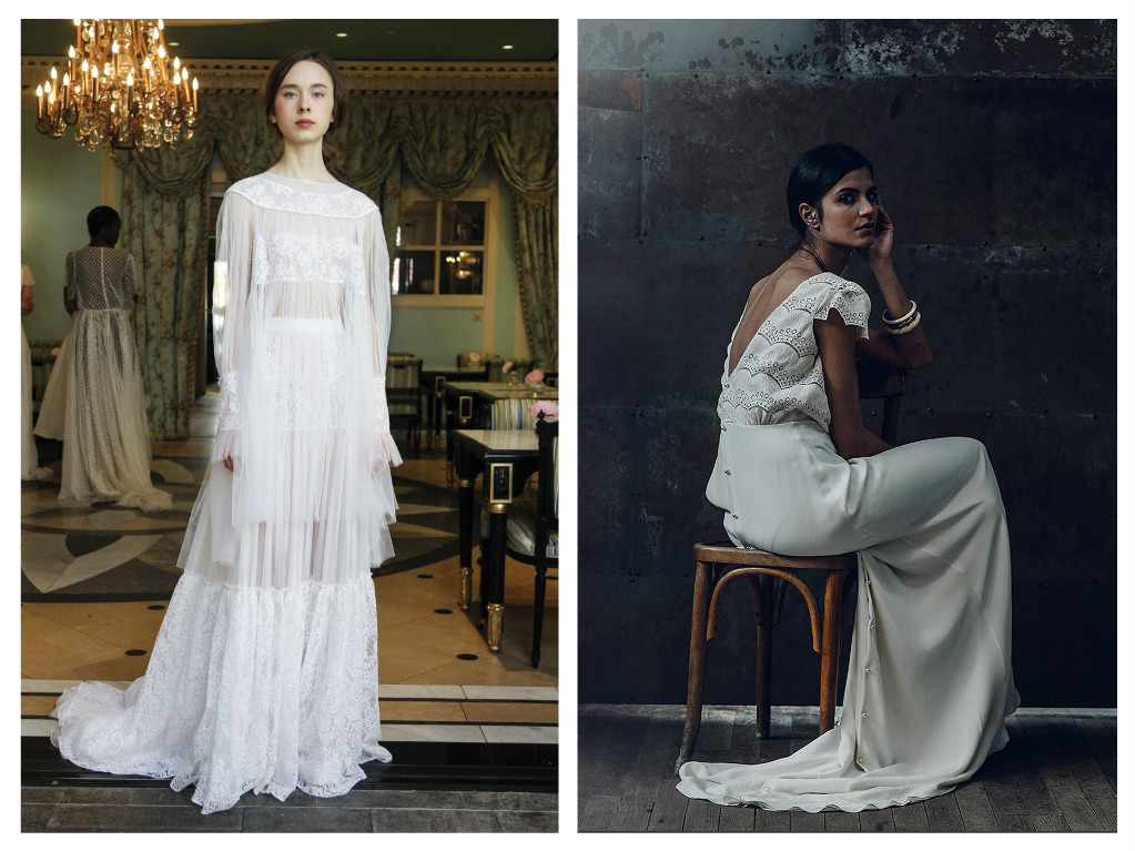 Left: Sheer romance in a long-sleeve lace top with ruffled cuffs and a maxi-length skirt with panels of muslin and vintage lace. Delphine Manivet top, $1,815 and skirt, $3,635. Right: In an homage to painter Marie-Denise Villers, an eyelet top with plunging back and cap sleeves descends to a silk crepe skirt for a picture of insouciant elegance from Laure de Sagazan.