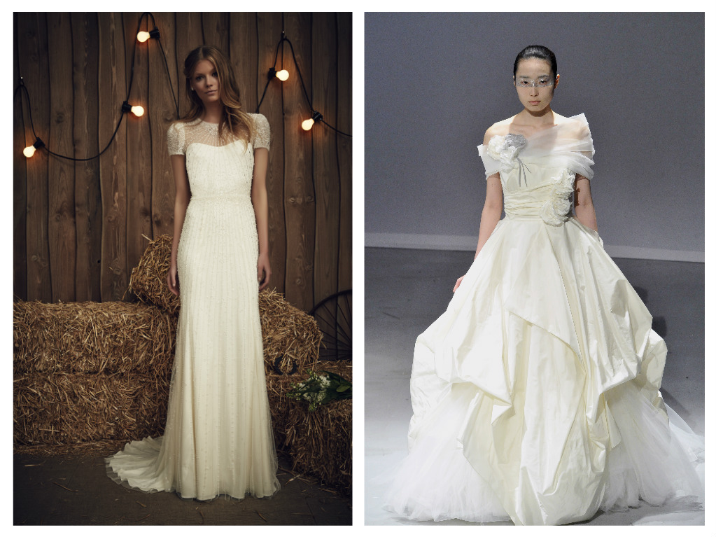 Left: Jenny Packham's mod nod to formal dressing, in ivory tulle with silver crystal embellishment, $5,680. Right: Head-turning period swagger from David Fielden. Strapless taffeta dress with floral detail and tulle shrug, $7030.