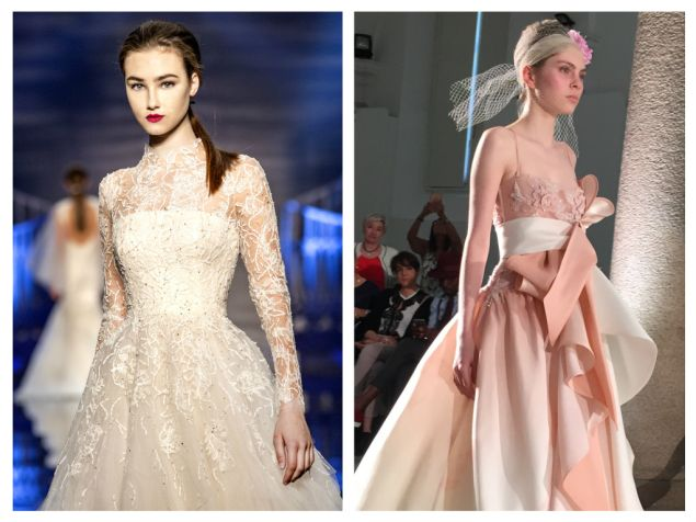 Left: Peter Langner's timeless celebration of Italian tradition combines embroidered tulle with long sleeves and Chantilly lace, $12,370. Right: From Chiaradè, weightless silk gazar folds and a bodice embroidered with crystal and silk threads are the picture of romance, $8,625.