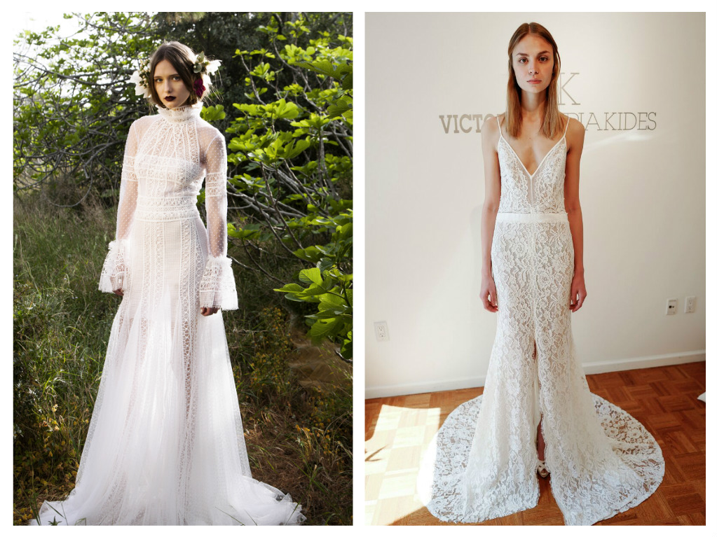 Top: Christos Costarellos combines delicate dotted Swiss and layers of guipure lace to create a sensual riff on a proper Victorian gown, $3,365. Right: From Victoria Kyriakides, a beach-worthy body-skimming trumpet dress is slit just beyond the knees, $5,350.